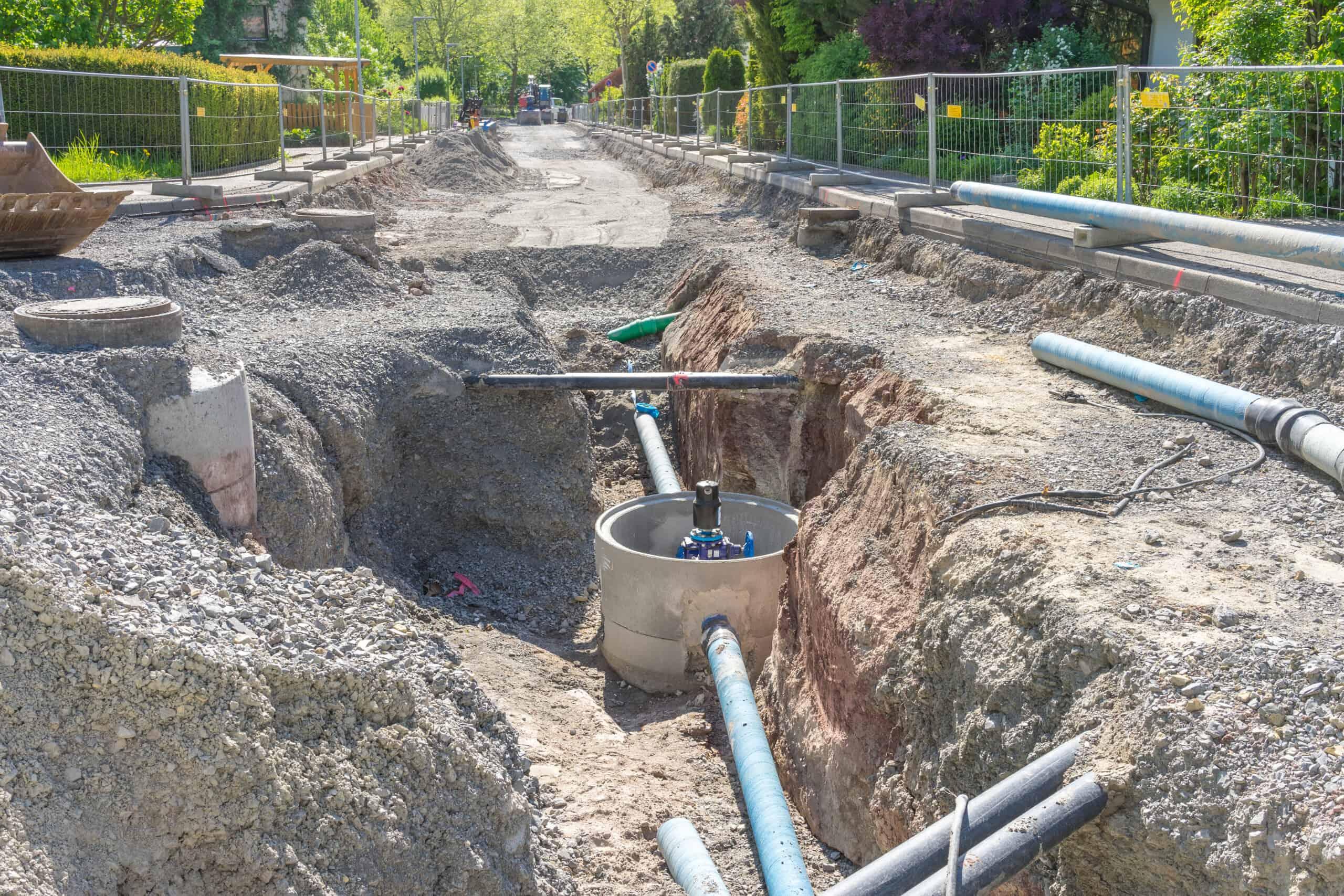 Auswechseln der Wasserleitung im Wohngebiet Deierer